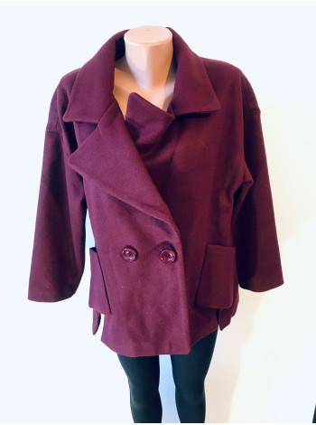 Жіноче пальто Luolita бордового і сірого кольору