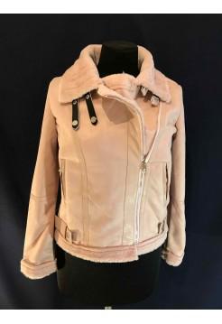 Искусственная дубленка розовая Fashion brand
