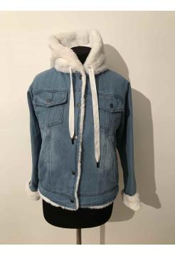 Купити джинсову куртку зі штучним хутром жіночу ⭐