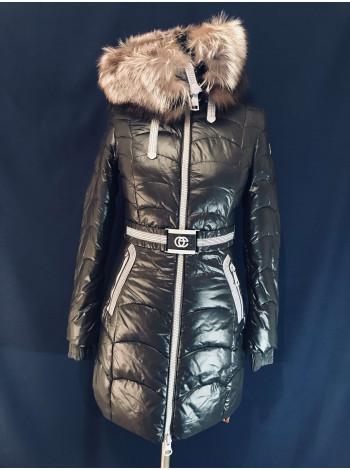 Женская куртка с мехом чернобурки