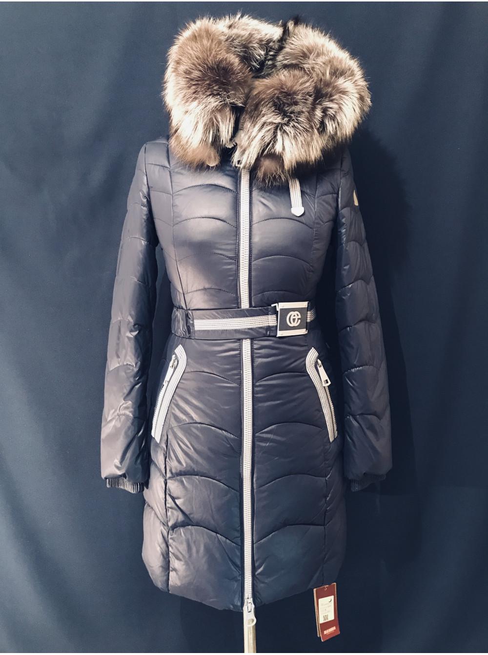 Жіноча зимова куртка з чорнобуркою на капюшоні. Натуральний наповнювач a46f707d47ab5