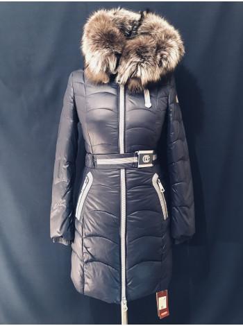 Жіноча зимова куртка з чорнобуркою на капюшоні. Натуральний наповнювач