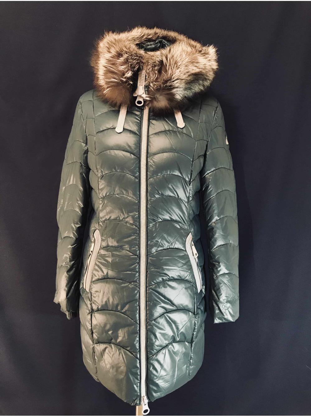 Зимовий жіночий пуховик з хутром чорнобурки на капюшоні a38f81aca5d76