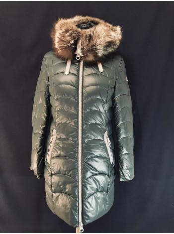 Зимний женский пуховик с мехом чернобурки