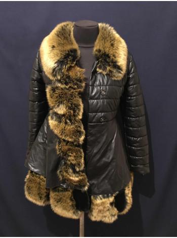 Купити зимову жіночу куртку з штучним хутром під лисичку