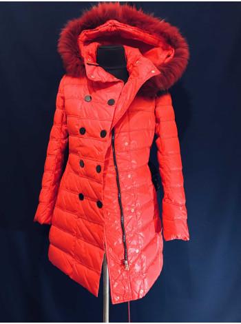 Жіночий пуховик Snowimage c натуральним хутром - червоного кольору