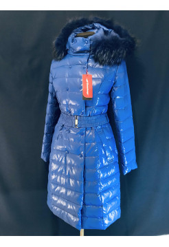 Snowimage купить пуховик, натуральный мех, синяя