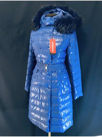 Купить пуховик Сноуимидж, натуральная опушка енота. Синяя 10597