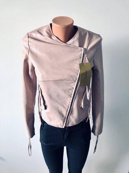 Куртки кожзам розового и черного цвета AFTF basic демисезон, весна, осень