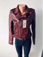 Куртки шкіряні AFTF basic коричнево червоного кольору оптом і роздріб
