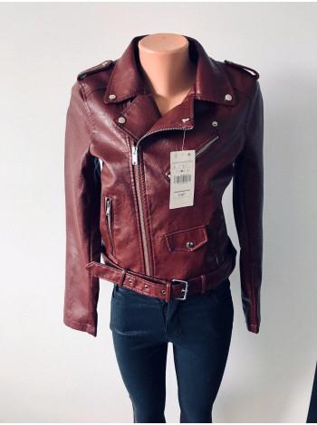 Куртки кожанные AFTF basic коричнево красного цвета - оптом и в розницу