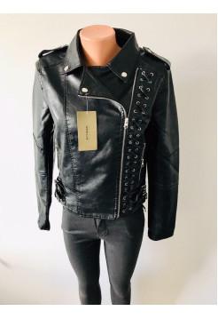 Куртка кожзам AFTF basic черного цвета