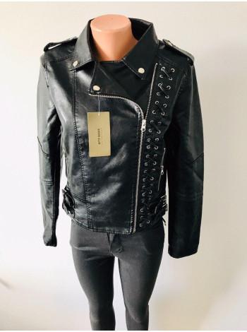 Куртка кожзам AFTF basic чорного кольору