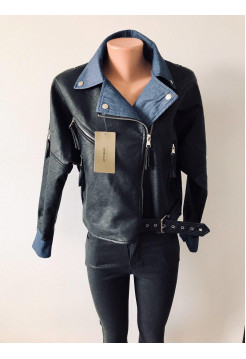 Куртка из кожзам AFTF basic черного цвета с синей подкладкой