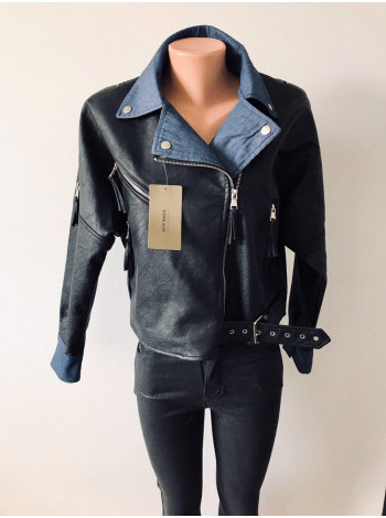 Куртка з кожзам AFTF basic чорного кольору з синьою підкладкою