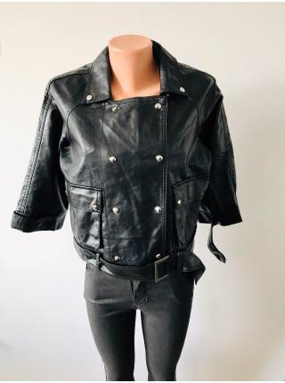 Куртки кожаные розового и черного цвета кожзам AFTF basic