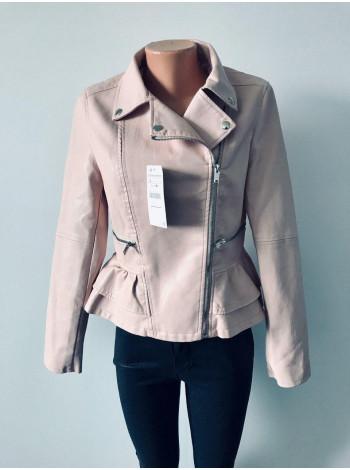 Куртки шкіряні з кожзам AFTF basic чорна і рожевого кольору