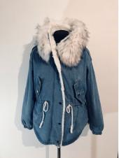 Джинсова куртка hong 1020 з білим хутром