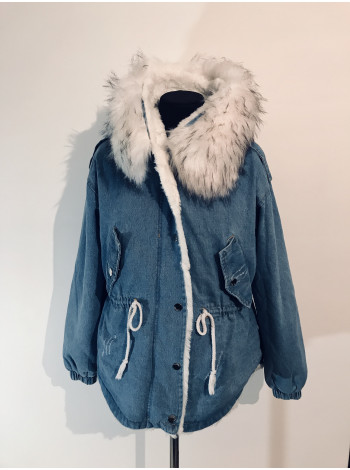 Джинсовая куртка hong с белым мехом