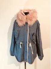 Джинсовая куртка hong 1020 с розовым мехом