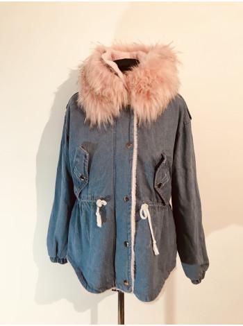Джинсова куртка hong з рожевим хутром