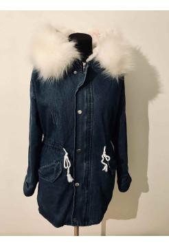 Женская джинсовая куртка с мехом купить Киев, Украина ⭐
