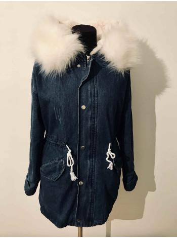 Купить женскую джинсовую куртку с искусственным мехом недорого Киев, Украина.
