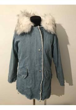 Джинсовая куртка с мехом женская купить в Киеве, Украине недорого