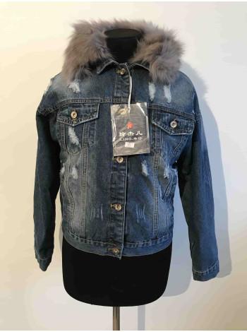 Джинсова куртка з мехом жіноча, джинсовка