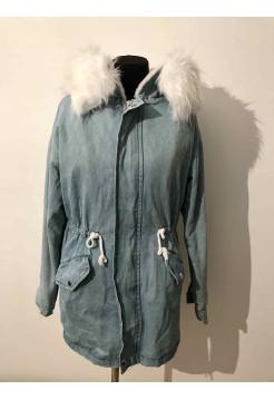 Женская куртка джинсовая с мехом