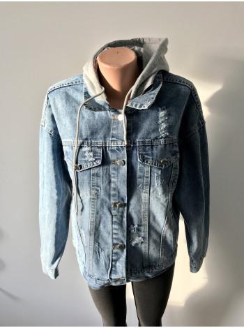 Джинсовая куртка Fashion оверсайз - с принтом на спине