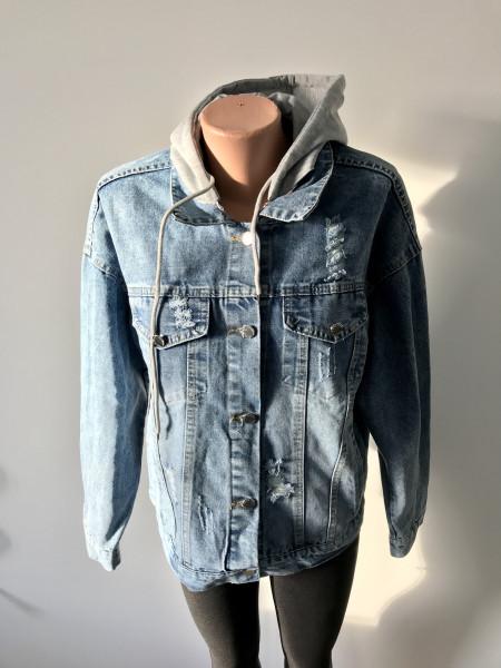 Джинсовая куртка Fashion оверсайз с принтом на спине