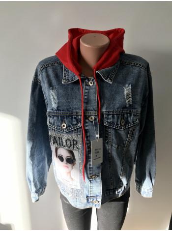 Молодежная джинсовая куртка Encore jeans с принтом на спине