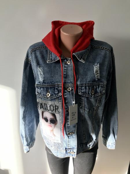 Молодежная джинсовая куртка - Encore jeans с принтом на спине