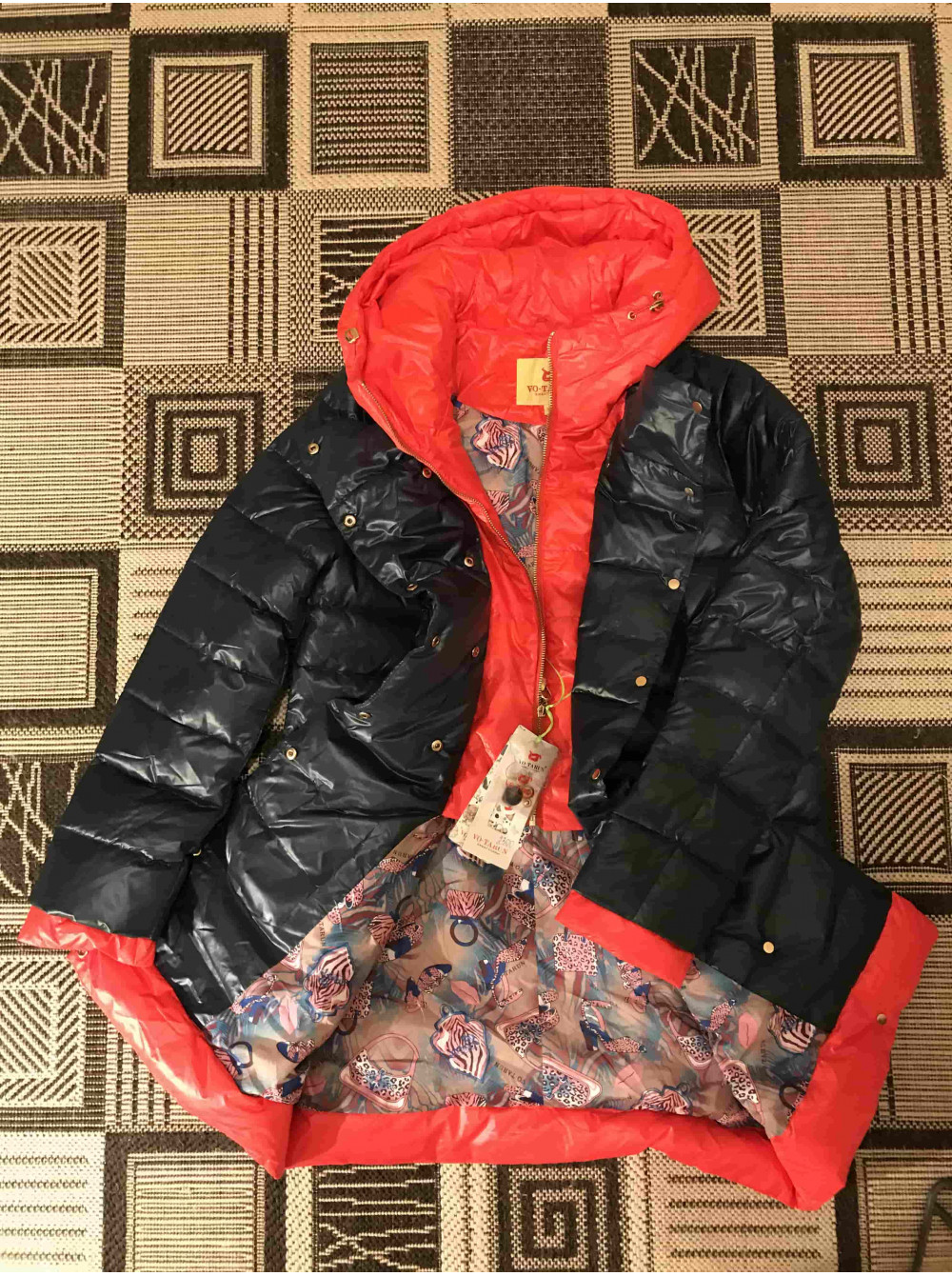 Куртка на пуху VO TARUN КОЛІР пляшка з помаранчевим капюшоном фото №3 51602afadce6a
