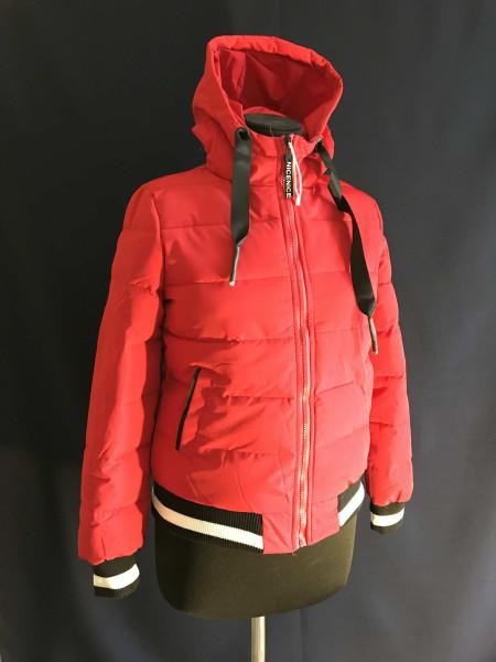 Куртки демисезон — красная с капюшоном