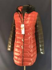 Куртка на пуху цвет красный, капюшон кролик VO TARUN с черным рукавом