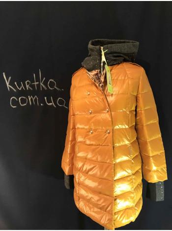 Куртка женская, зимняя VO TARUN оранжевого цвета c отстегивающимся трикотажным капюшоном. Купить в интернет магазине онлайн