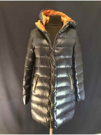Зимняя женская пуховая куртка синего цвета VO TARUN
