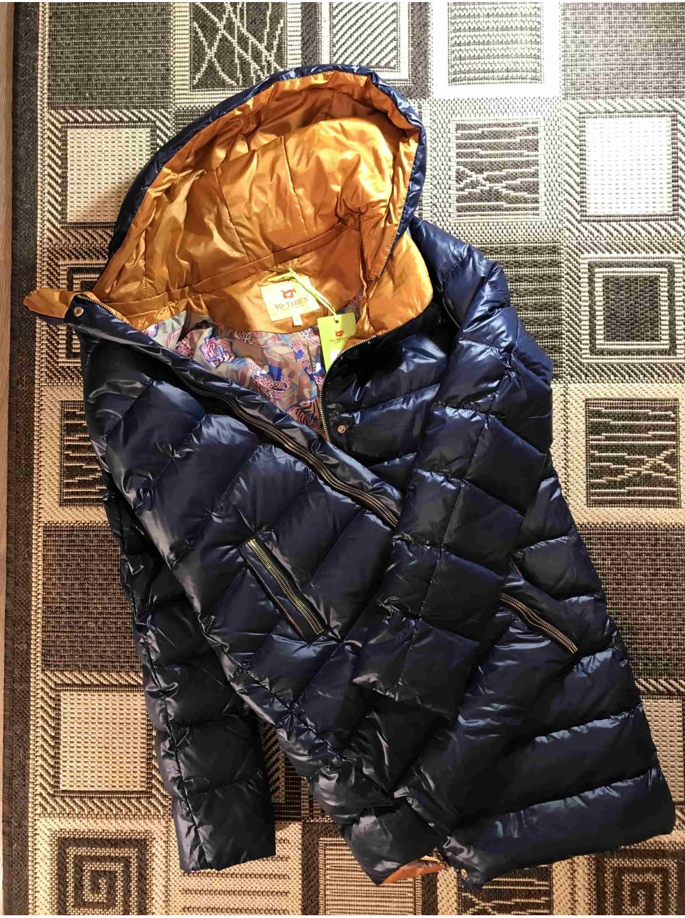 Куртки VO TARUN жіночі сині з капюшоном з трикотажу. Купити курткіив ... 0fd07dedf6f42