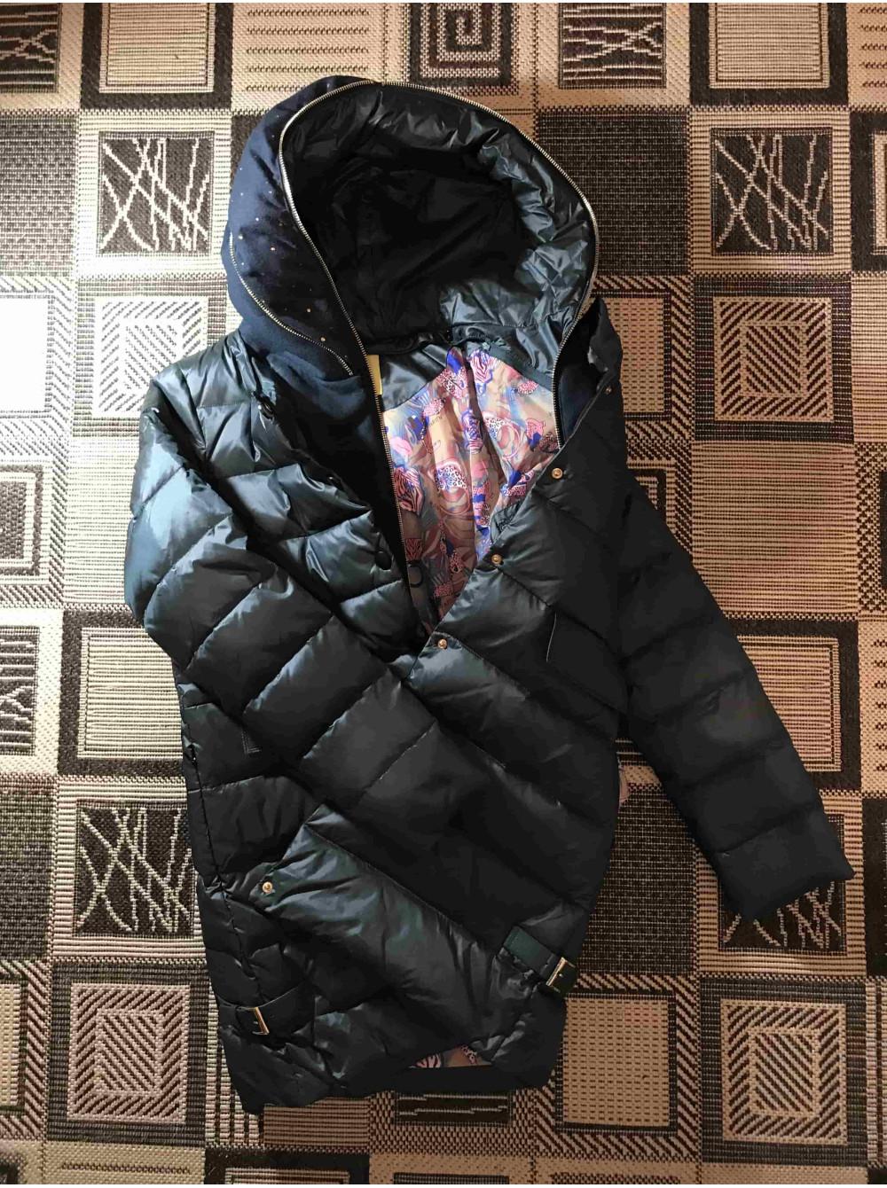 VO TARUN Куртка колір пляшка трикотажний капюшон відстібається фото №3 5ea8804881611