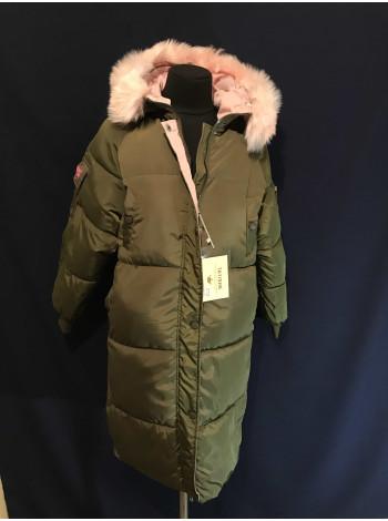 Оверсайз пальто купити зі штучним хутром жіноче в Україні, колір хакі ⭐ Пальто опт, роздріб