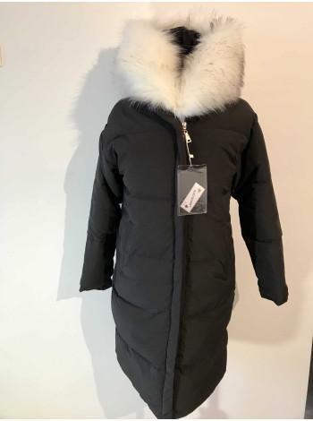 Пальто жіноче з білим хутром на зиму