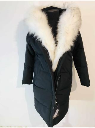 Пальто женское с белым мехом