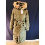 Зимова жіноча парка - колір хакі, з натуральною опушкою