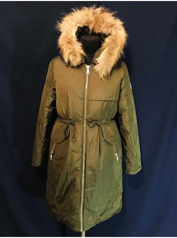 Парки оптом - женские на зиму. Купить парку холлофайбер, натуральный мех, цвет хаки