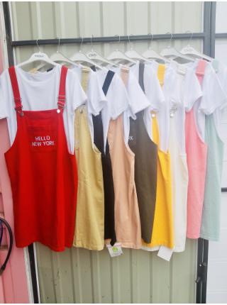 Женский сарафан двойка с футболкой в разных цветах