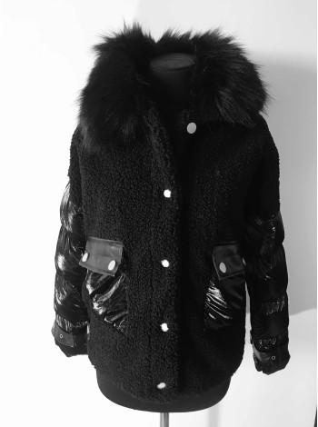 Куртка шубка з штучним хутром на холлофайбері