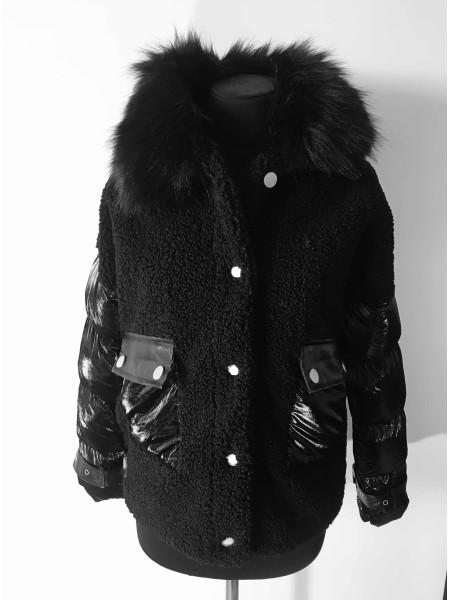 Куртка шубка с искусственным мехом на холлофайбере
