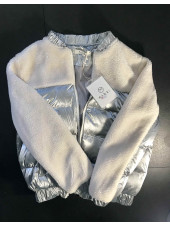 Куртка демісезонна з штучним хутром біла